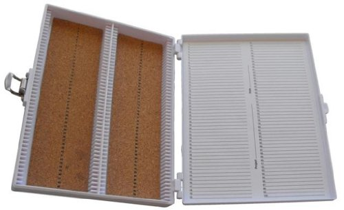 Heathrow Scientific HD15994E White Cork Lined 100 Place Microscope Slide Box, 8.25' Length x 7' Width x 1.3' Height