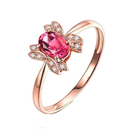 ButiRest Mujer Kein-Metall-Stempel (Mode nur) oro rojo 18 quilates (750) talla ovalada rosa Tourmaline
