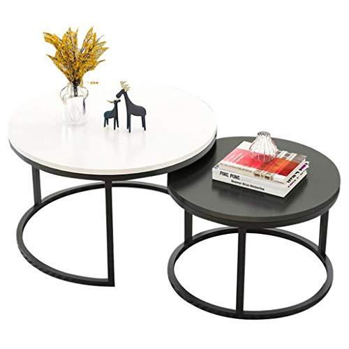 N/Z Tägliche Ausstattung Home D & Eacute; COR Möbel Runde MDF Tischschachteltische Couchtische mit schwarzer Metallbasis Wohnzimmer Couch/Beistelltisch/Beistelltisch 70 cm / 50 cm 2er-Set Wohnzimme