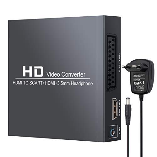 Neoteck HDMI zu SCART/HDMI Konverter HDMI zu Composite-Videosignal/FL/FR-Stereo-Audiosignal Adapter mit 3,5-mm-Kopfhörer und Netzteil Unterstützt 1080P, PAL, NTSC für CRT-TV, VHS-VCR, DVD-Recorder