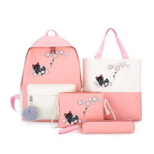 Ys-s Personalización de la Tienda Juego de 4 Piezas Damas astutos Cat Bolsa de Hombro Backpack College Style Canvas Travel School School Mochila Strytring Girl Mochila Estudiante (Color : Pink)