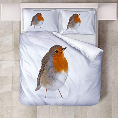 YLWMBB Duvet Cover Set Robin 3D Printed Reversible Duvet Cover Set Wrinkle Free Quilt Cover Cover Bedding with 2 Pillowcases and Zipper Closure 140x200cm