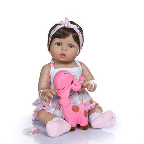 Terabithia 18pulgadas 47cm Real Life Soft Gentle Touch Silicone Vinyl Full Body Reborn Baby Girl Dolls in Tan Skin Preemie Lavable Newborn Doll Look Real