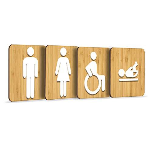 3DP Signs | 4X Platz Set [CLAS] Rechtwinklig Geprägte Restroom Toilette WC Damen Herren Behinderten Rollstuhl Wickelraum Toilettenschilder, Schild Mann Frau Wickeltisch Türschild