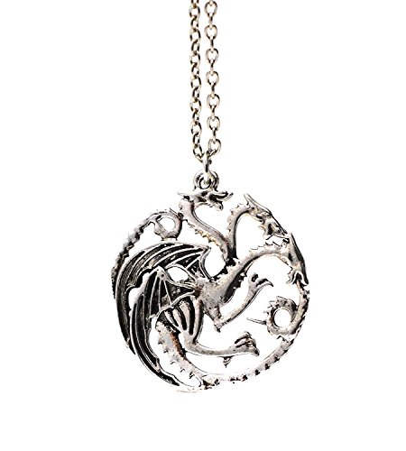 Beaux Bijoux (Style 1 - Three Headed Dragon Pendant Necklace Targaryen Sigil Silver Game of Thrones In Gift Box