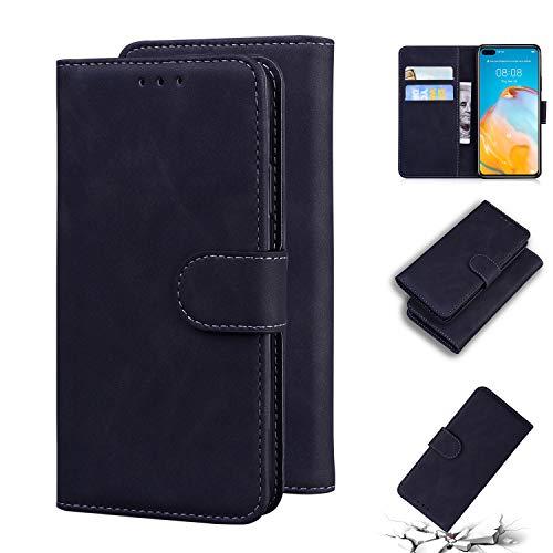 LODROC Huawei P40 Hülle, TPU Lederhülle Magnetische Schutzhülle [Kartenfach] [Standfunktion], Stoßfeste Tasche Kompatibel für Huawei P40 - LOTX0100459 Schwarz