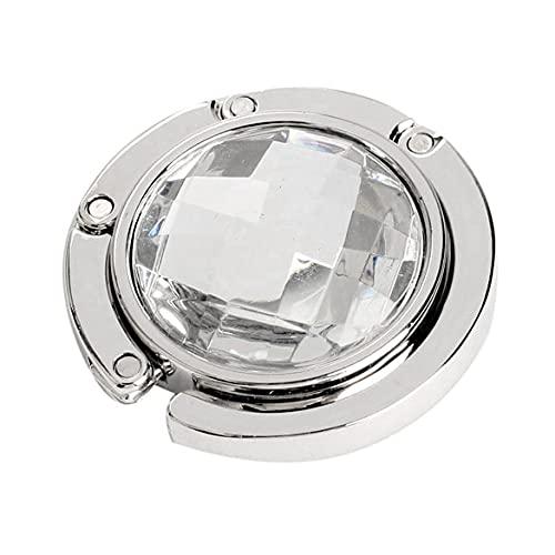 1 gancho redondo de metal para colgar ganchos únicos plegables y portátiles, diseño de flores, de moda, de aleación de cristal, bolso de mano (color: blanco)