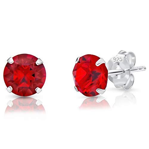 DTPsilver - Semental Pendientes/Aretes de Plata de Ley 925 con Cristal Swarovski® Elements Redondo - Diámetro: 6 mm - Color: Siam Rojo