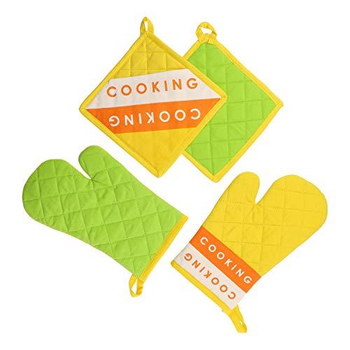 MamboCat Kela Lot de 4 maniques de Cuisine avec 2 Gants de Four carrés et 2 Housses de Protection carrées pour la Cuisson et la pâtisserie Vert/Jaune