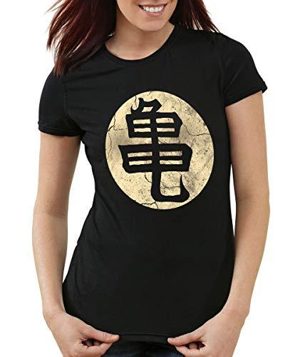 style3 Goku Ecole de Tortue Roshi T-Shirt Femme, Couleur:Noir, Taille:XS