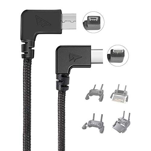 RCstyle 90 Degree Micro AB to Type-c Data Cable Right Angle Connector Cord, for DJI Mavic Mini/ 2 Pro/2 Zoom/Pro/DJI Spark Drone Remote Controller Accessories, Image Transmission Data Cable, 11.8IN
