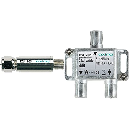 Axing TZU 19-65 - Hochpassfilter/Rückkanal-Blocker & BVE 2-01P 2-Fach Verteiler Kabelfernsehen CATV Multimedia DVB-T2 Klasse A+, 10dB, 5-1218 MHz Metall