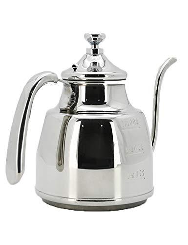 SJQ-coffee pot ThéIèRe en Acier Inoxydable 304 - PoinçOnneuse à Main - CafetièRe éPaisse - avec éChelle de Niveau d'eau - PoignéE RéSistante à la Chaleur - 1 L - Convient au Bureau à Domicile
