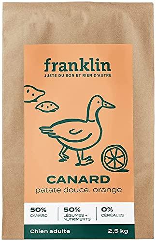 Franklin - Croquettes sans Céréales - Chien Adulte - Naturel - Allergies Alimentaires – Digestion Parfaite - Canard, Patate Douce, Orange - 12kg