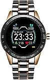 CNZZY Banda d'acciaio Intelligente Orologio da uomo Pressione Sanguigna Monitor di Frequenza Cardiaca Sport Modalità Multifunzione Fitness Tracker Bluetooth Impermeabile Smart Watch (E)