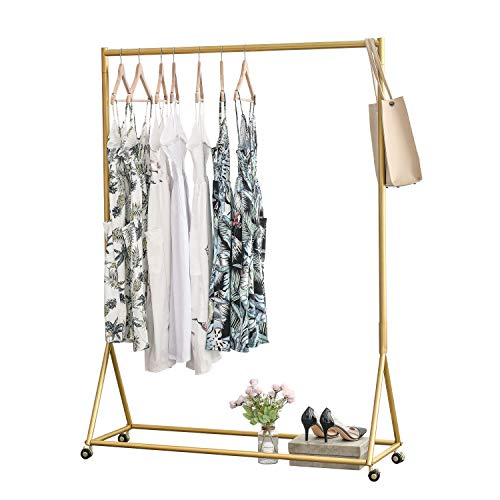 BOSURU Modern Clothing Rack Heavy Duty Metal Rolling Garment...