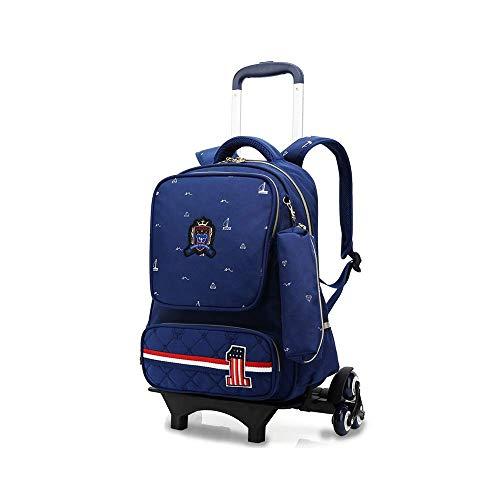 Zixin Trolley Reisetasche Britische Stil Trolley Schoolbag Grundschüler 6-12 Jahre alte Jungenmädchen-Schul-Trolley-Tasche mit abnehmbarem Faltwagenstab langlebige Formscheiben