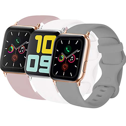 3-Pack Idon Sport Band Compatible for Apple Watch Band 38MM 40MM S/M, Soft Silicone Sport Bands Replacement Strap Compatible with iWatch Series SE/6/5/4/3/2/1, Concrete + Pink Sand + White