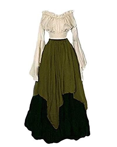 PengGengA Disfraz Traje Medieval para Mujer Traje Princesa Reina Dama Medieval Cosplay Criada Verde M