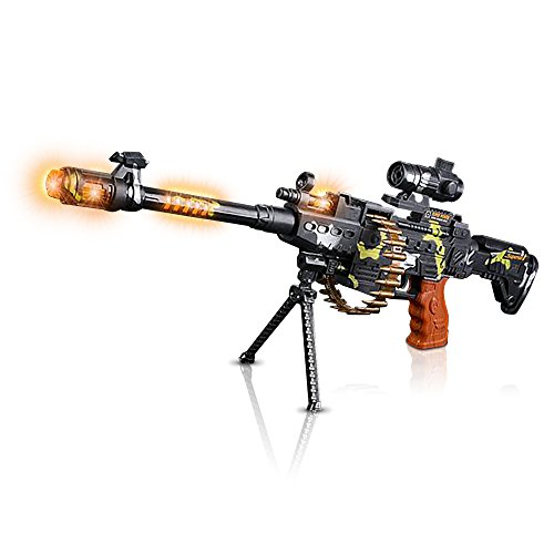 Product Image of the ArtCreativity Toy Machine Gun with Scope, Stand and Carrying Strap Flashing...
