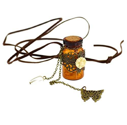 Collana Con Ciondolo A Forma Di Bottiglia Con Pergamena E Perline All'Interno