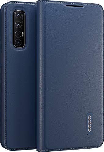 OPPO Schutzhülle für OPPO Find X2 Neo Wallet Hülle Flip PU Leder & TPU Schutzhülle mit Halterungsfunktion Doppelkartenfach Stoßfest Hülle - Marineblau