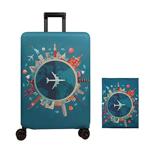 Cubierta de equipaje Funda de maleta 18-32 pulgadas de fibra de carbón de bambú cubierta de equipaje Poliéster equipaje de viaje cubierta de la caja protectora (color 2, L)
