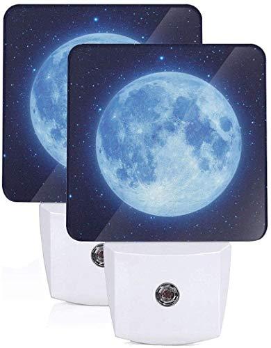 Paquete de 2 lámparas LED de luz nocturna con impresión de luna azul con atardecer a amanecer Auto Motion Senor para leer cuarto de baño dormitorio guardería decoración, US Jack
