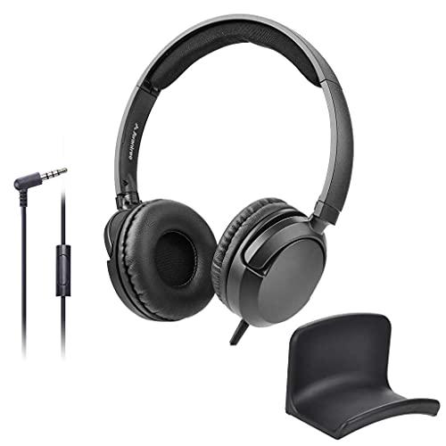 AVANTREE026 검&HS907 번들-뛰어난 음 유선 귀 헤드폰에 마이크 1.5M | 4.9FT 긴 코드 헤드셋을 위한 성인 학생 어린이 및 헤드폰 옷걸이 벽 마운트 홀더