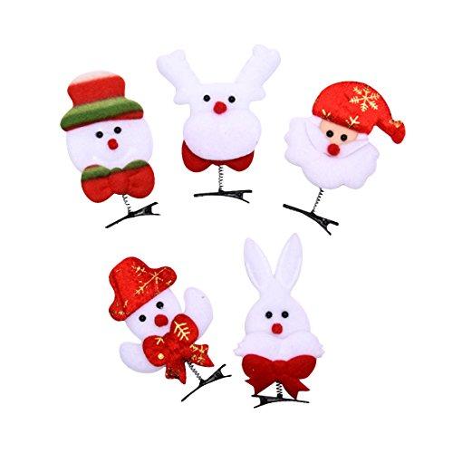 LUOEM 5 UNIDS Chicas Pinza de Pelo de Navidad Horquilla Divertida Santa Claus Estilo Bobby Pins Fiesta Prop para...