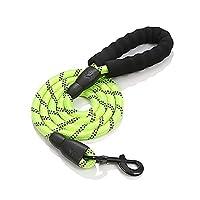 丈夫な犬用リード 155cm 犬用引きヒモ、持ちやすいスポンジ取っ手と目立つ夜光材質採用、中型と大型犬に適用 余分なものボーナス (グリーン)