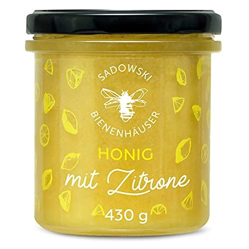 SADOWSKI BIENENHÄUSER Natürlicher Blüten-Honig mit Zitrone | Natural Nektar von Premium Honig-Waben | Vitamine C | Für Sandwiches, Haferflocken, Desserts, Smoothies und Tee | Lemon Honey | 430 g