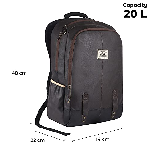 Gear Classic Anti Theft Faux Leather 18 inch 48 cms Brown Laptop Backpack (LBPCLSLTH0201)