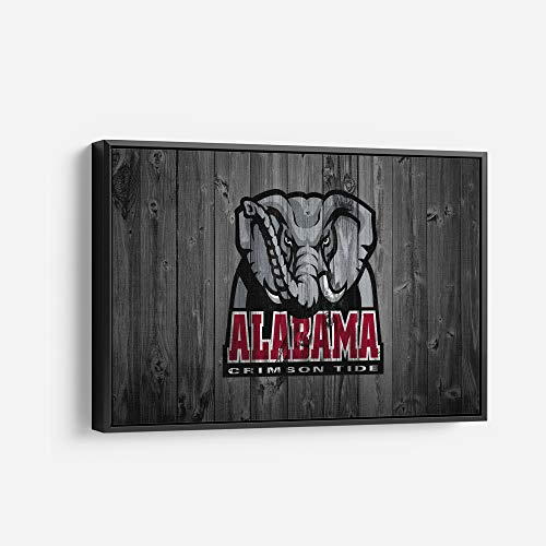 Alabama Crimson Tide American Football College University Team Art Decor Wall Poster Canvas Print. Ready to Hang. Made in USA (24in x 18in Modern Black Framed)