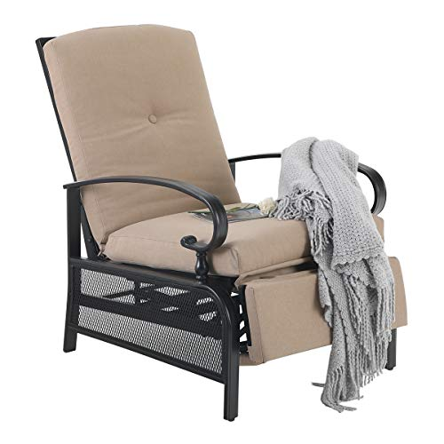 """PHI VILLA Patio Adjustable Lounge Chair Outdoor Metal Relaxing Recliner Sofa Chair with with 5"""" Removable Cushions, Beige"""