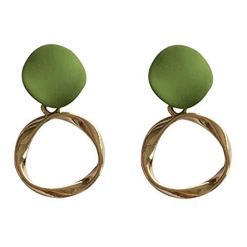 Yhhzw Needle Dangle Earirngs Jewelry Metal Golden Plating Geometric Green Earrings For Women Accessories Jewelry