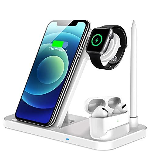 LECHLY Wireless Charger, 4 in 1 Induktive ladestation für Apple Watch Airpods Pro, Qi-Zertifiziert Kabelloses Ladegerät für iPhone 12/SE/11/X/XR/Xs Max/8, Samsung Galaxy S20/S10