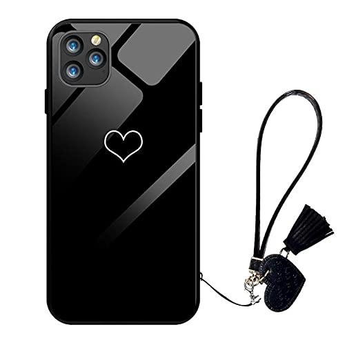 Oihxse Case Compatible para iPhone 5/5S/SE, Vidrio Templado con Cuerda Cordón Cover, Amor y Estampado de Labios Motif Funda, Anti-Rasguños Anti-Choques Cáscara