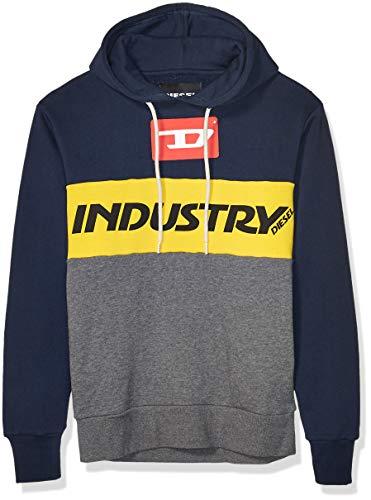 Diesel Men's Brandon Hoodie Sweatshirt, Dark Grey Melange, S