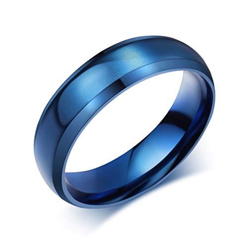 ERDING Unisex/Verlobungsring/Freundschaftsring/Blauer Ring 316l Edelstahl Partei Schmuck für Männer Frauen Matte 6mm Größe 4 bis 15