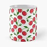 Desconocido Wallpaper Cherries Background Cute Backdrop Cherry Colorful Berry Taza de café con Leche 11 oz