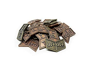 Citadel Black MTG Buff Counters Expansion Set of 30 Metal Tokens - with Velvet Drawstring Pouch Antique Gold & Copper Finish Metal Tokens Magic  The Gathering
