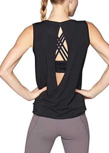 Mippo Womens Workout Tops Open Back Athletic Yoga Shirts Muscle Active Tanks Tennis Pilates Tops Gym Dance Clothes for WomenBlack M