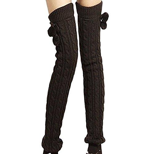 TININNA Calentadores de piernas, para mujer, de invierno, lana cálida, largos, punto trenzado, cubrebotas