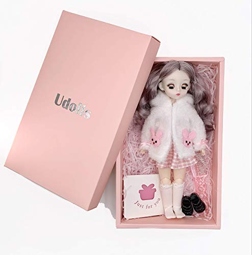 Udolls Bjd Dolls Smart Doll 1/6 Kawaii Doll 12 Inch 21 Ball Jointed Doll DIY Toys Makeup Head Full Set Clothes Shoes Wig with Gift Card Package for Girl (Bunny)
