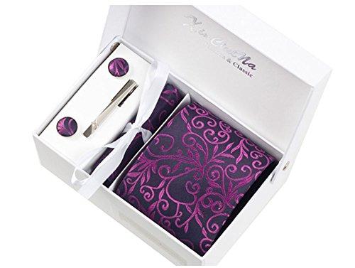 S.R HOME Floral Violette Ensemble Cravate étanche d'homme, Mouchoir, épingle et boutons de manchette coffret cadeau