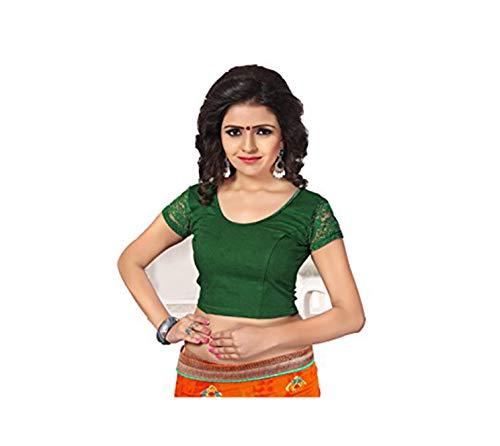 INDIAN STORE 24 Indianstore24® Blouse Bluse Saree Bollywood Wedding Hochzeit Sari Kleid Damen Indian ganz Casual Birthday Crop top fertig genäht Readymade gestickt Dehnbar Stretchable Material-107 (Ant Irish Green)