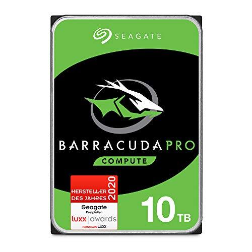 SeagateBarraCuda Pro, interne Festplatte 10 TB, 3.5 Zoll, 7200 u/min, 256 MB Cache, SATA 6 Gb/s, silber, FFP, Modellnr.: ST10000DMZ0044