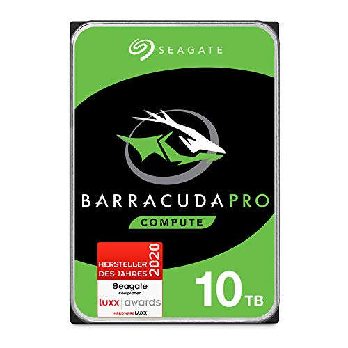 SeagateST10000DMZ0044 BarraCuda Pro 10 TB intern Festplatte (8,9 cm (3,5 Zoll), 7200 u/min, 256 MB Cache, SATA 6 Gb/s, silber, FFP (Frustfreie Verpackung))