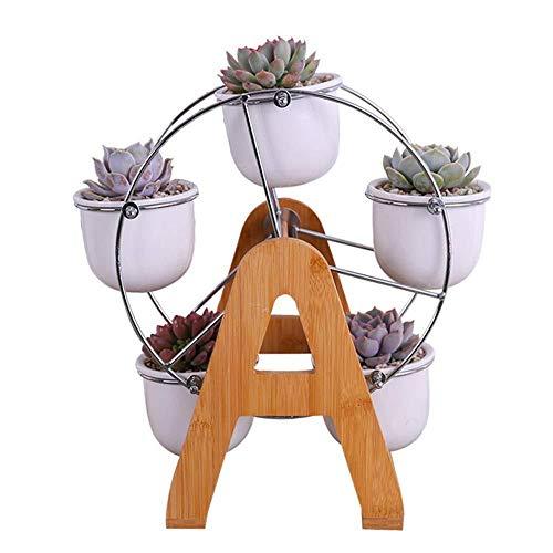 ZSPSHOP Keramische Pflanzgefäße Set Mit 5 Hängenden Saftigen Blumentöpfen Mit Skulpturalem Holzständer Mit Riesenrad